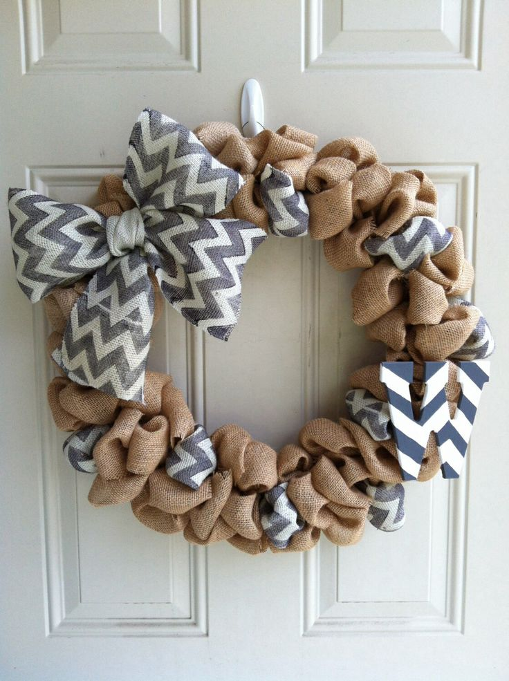 Burlap/chevron wreath