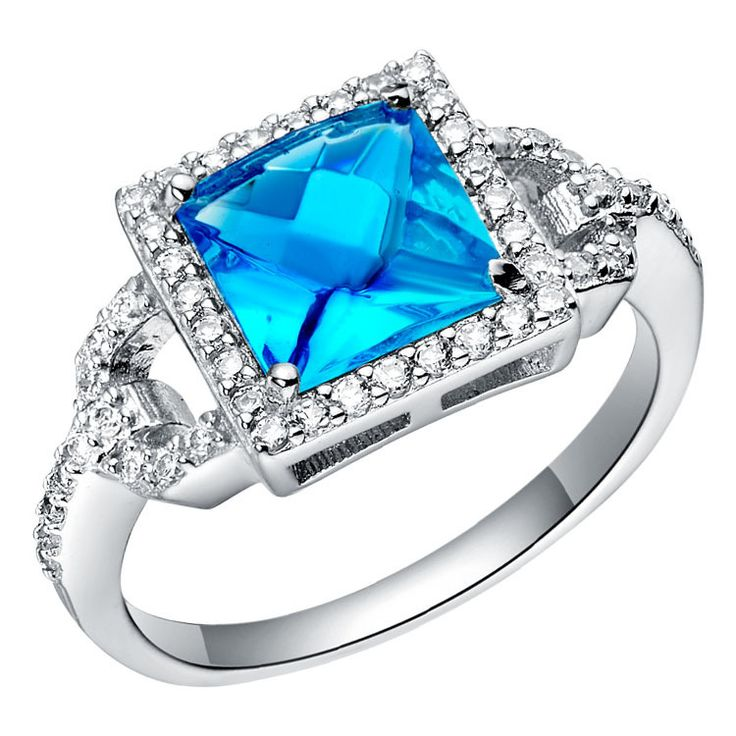 White gold color Princess Cut Crystal Ring for Women Wedding Engagement Rings Crystal Jewelry Party Gift