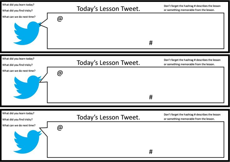 Tweet pupil self-assessment - A simple student self-assessment sheet in the style of a tweet to help students reflect on the lesson and their learning.