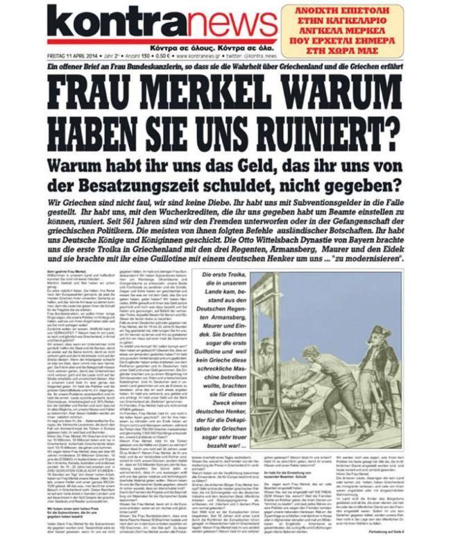 """Komplett auf Deutsch fragt die rechts gerichtete Zeitung """"Kontra News"""" in einem vorwurfsvollen Brief: """"Frau Merkel, warum haben Sie uns ruiniert?"""""""