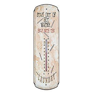 Amazon.com : Stay Out of Hot Water Tin Metal Thermometer Rustic Vintage Prim Laundry Room Wall Decor : Patio, Lawn & Garden
