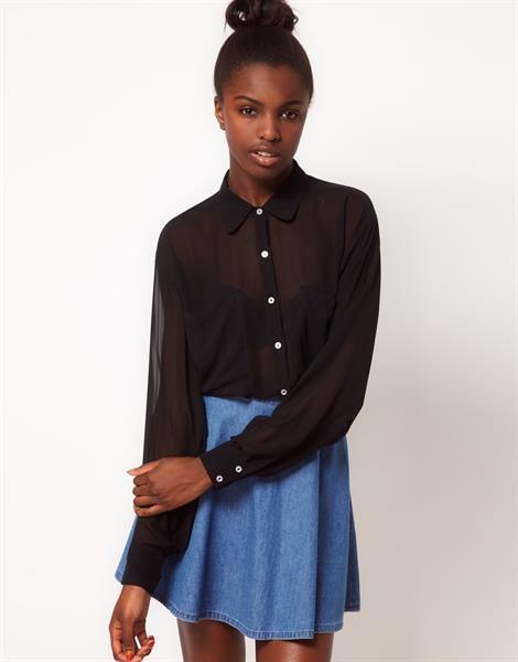 Шифоновая черная блузка