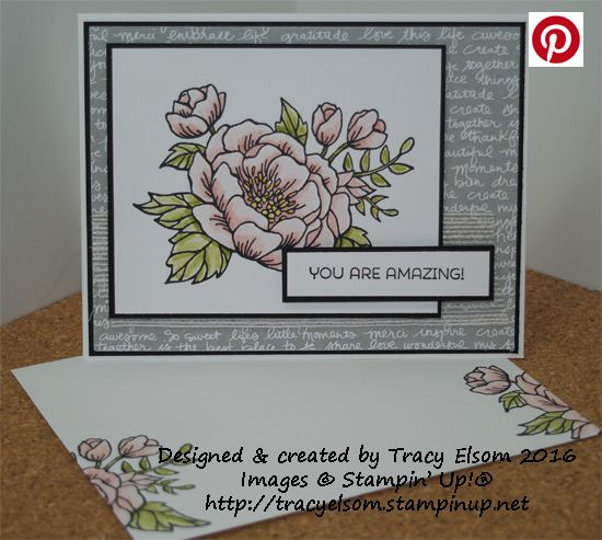 Card created using the Birthday Blooms Stamp Set from the Stampin' Up! 2016 Occasions Catalogue.  http://tracyelsom.stampinup.net