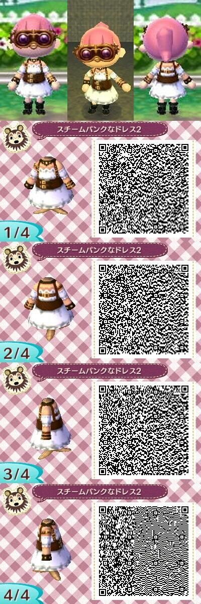 Animal Crossing New Leaf steampunk dress QR code @Eliyah Payne Payne Franson haha I have no idea why I'm seeing more and more of these now, but I feel the need to share them with you cause I guess maybe you'll like them?