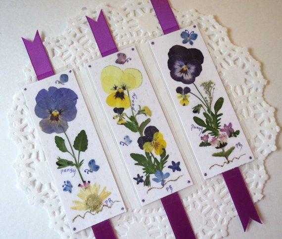 Pressed Flower Bookmarks real pansies by PatsysPressedFlowers
