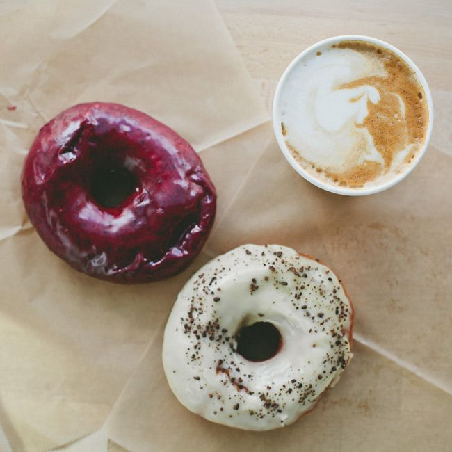 Move over Voodoo, there's a new donut shop in town - Blue Star Donuts!  The two pictured are blueberry bourbon basil & passionfruit cocoa nib.  Amazing!
