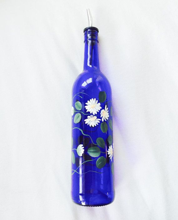 Cobalt Blue Hand Painted Daisy Oil or Vinegar by EnchantedHalcyon