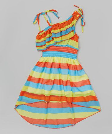 Look what I found on #zulily! Orange Stripe Asymmetrical Dress - Toddler & Girls #zulilyfinds