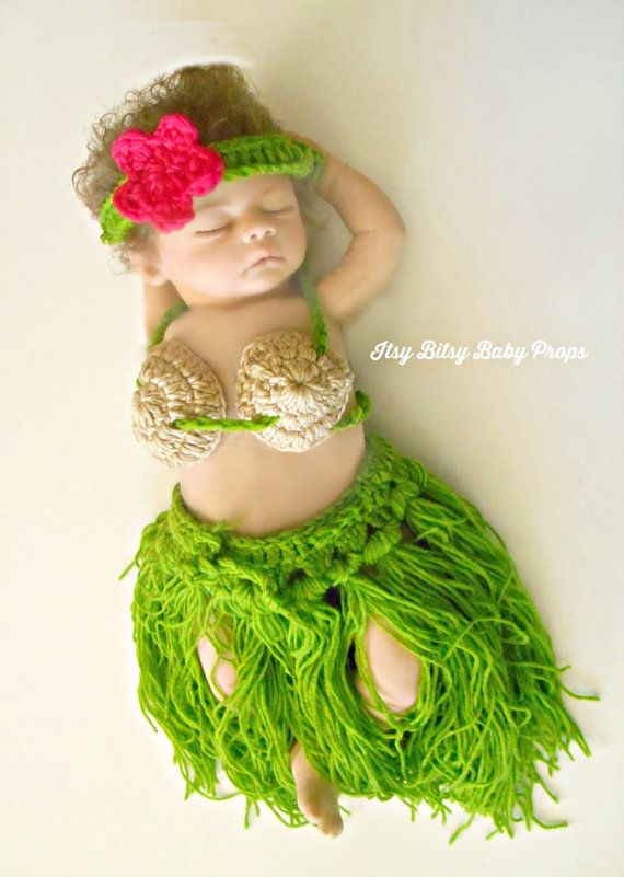 Items similar to Baby Hula Girl Outfit Crochet Costume Crochet Headband Crochet Bikini Crochet Top Baby Hawaiian Outfit Beach Prop 9 Month Baby Girl 12 ...  sc 1 st  Pinterest & 101 best Jainey stuff images on Pinterest | Child room Baby rooms ...