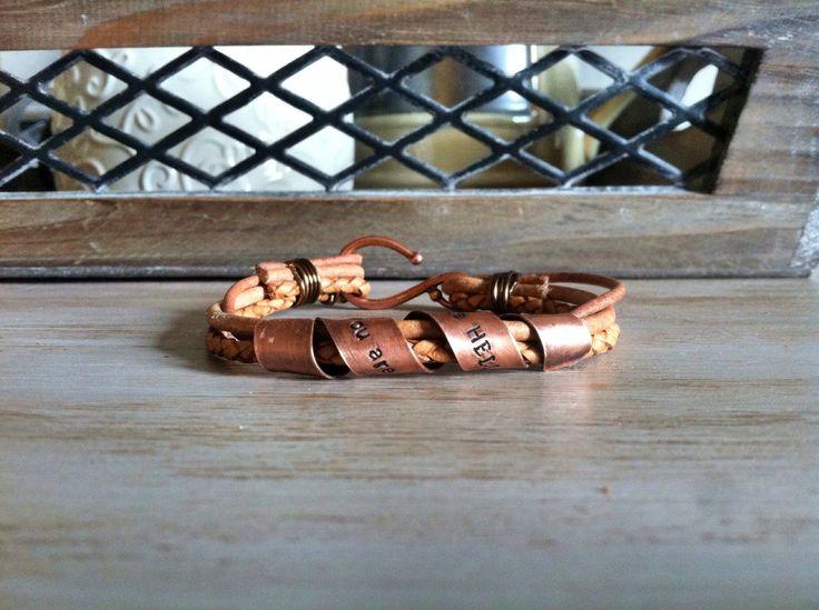 Personalized Mens Leather Bracelet  Custom Leather Bracelet