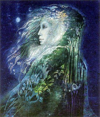"Susan Seddon Boulet - ""  Primavera  "" alias ""Flora"" - 1984 (calendar cover Goddesses 2002 )  Flora, ""that that flowers"" is the Roman goddess of flowers,  gardens and spring."