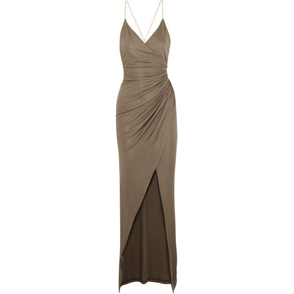 Balmain Embellished gathered stretch-jersey maxi dress, Women's, Size:... found on Polyvore featuring dresses, gowns, balmain, vestidos, neutrals, ruched evening gown, criss cross back maxi dress, brown dress, maxi dress and wet look dress