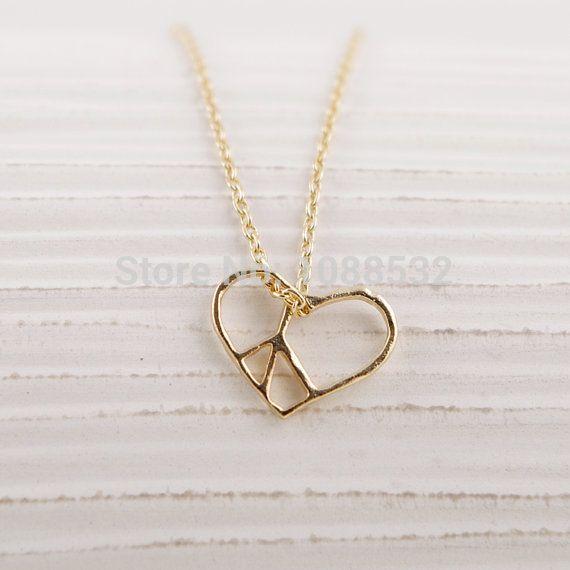 Сердце Шарм Ожерелье Открыть Boho Крошечные Сердце Мир Кулон Ожерелье Заявление Ожерелье Колье Colar