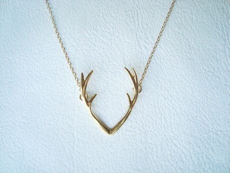 "* Antlers necklace - available in 2 colors - gold and silver * Length: 17 inches * Pendant size: 1"" long * Will ship within 2-3 business days (from US) * Great gift ideas - mother's day, birthday, Chr"