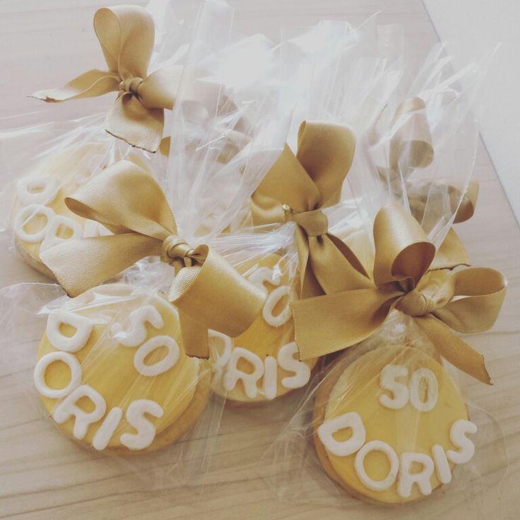 Galletas 50 años #DorisCumple50  Galletas personalizadas #50Dorados @dulcycandy