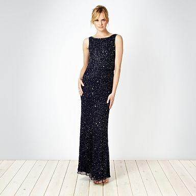 Dark blue seed beaded cowl neck maxi dress - Evening & party dresses - Dresses - Women - #vcukwearyourwardrobe