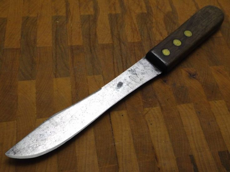 vintage Remington RAZOR SHARP Carbon Steel Butcher Knife 4306 Wood handle USA