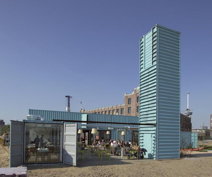 Wijn of Water, a restaurant in Rotterdam situated in several sea containers (loods celebes 101) http://www.wijnofwater.nl/