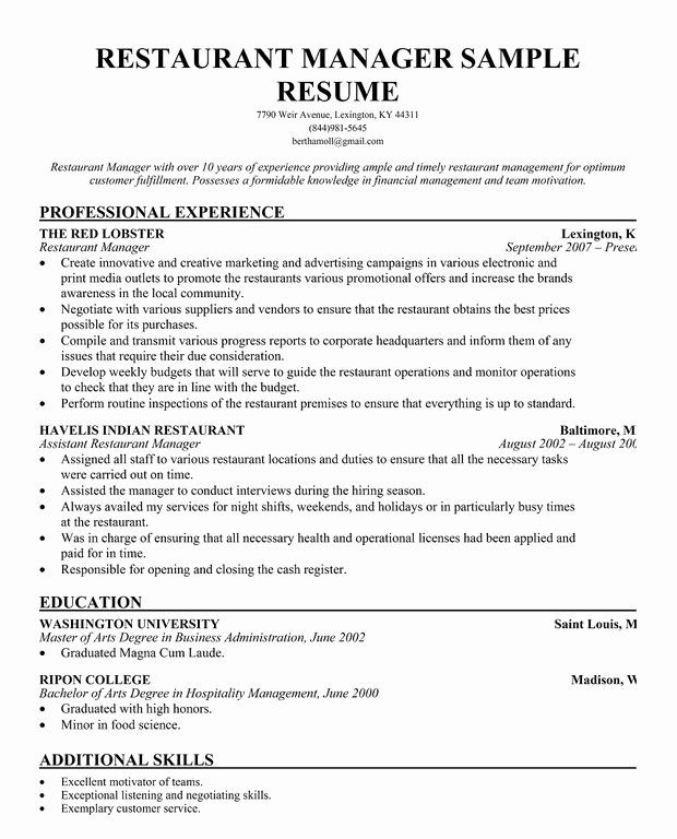 Restaurant Manager Resume Example Inspirational Restaurant Manager Resume Template Business Articles Pin In 2020 Restaurant Management Restaurant Resume Manager Resume