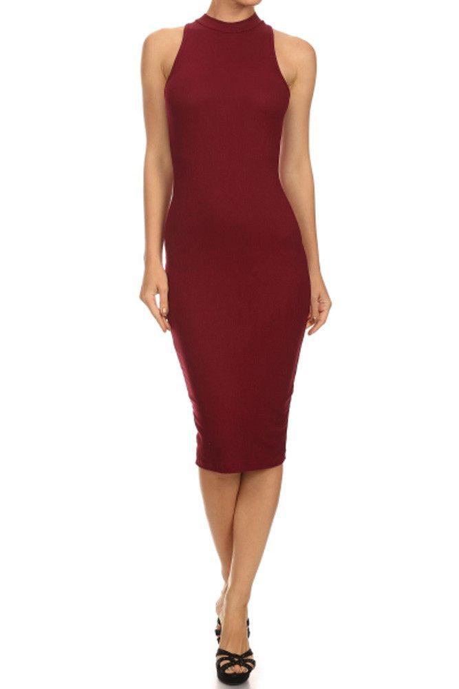 Solid Mockneck Sleeveless Diamante Stretch Bodycon Midi Dress Small / Burgundy - TheLovely.com - 2