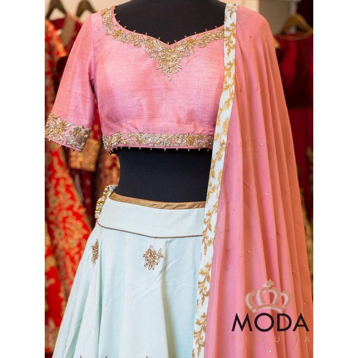 pastel pink and ice blue partywear lehenga.