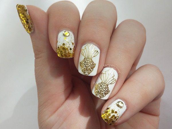 42 best gold white nails images on pinterest gold nail designs 45 gold nails you wish to try prinsesfo Choice Image