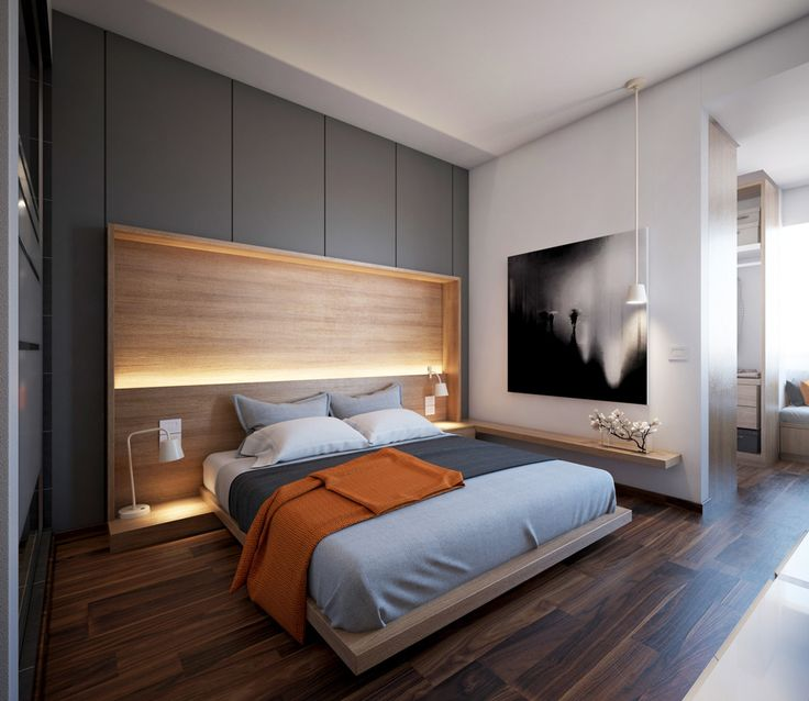 Camera da letto scandinava ad alto contrasto. Il letto presenta un sistema di luci lungo la testata. Colori bianco, nero e legno