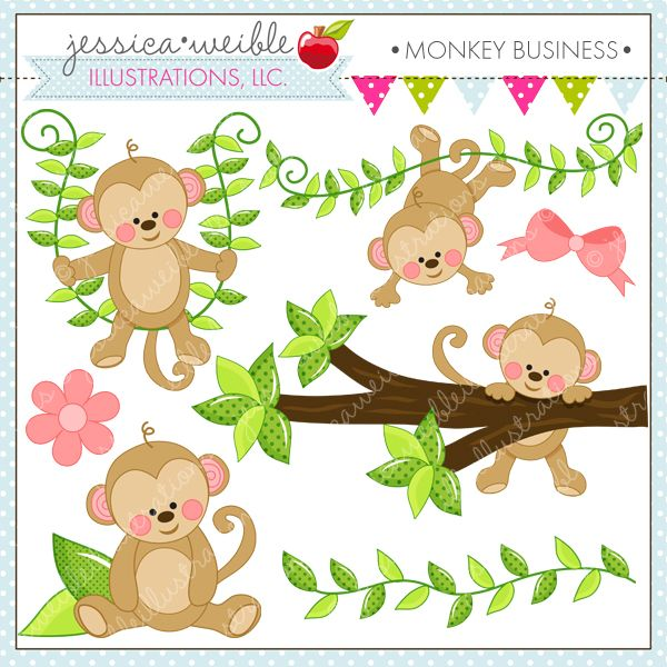 Monkey Business clipart set comes with 7 graphics including: a monkey swinging on a vine, a monkey hanging from a vine, a monkey hanging from a branch, a vine, a flower, a bow and a monkey sitting on leaves.