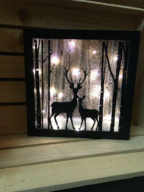 Cerf lumineux boîte d'ombre Eight x 8, nuit lumière, décoration de Noël, déco…