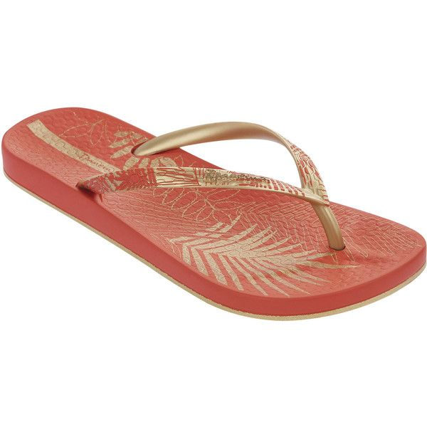 Ipanema Flip-flops - Foliage Fem - Red/gold (32 CAD) ❤ liked on Polyvore featuring shoes, sandals, flip flops, red, flip flop shoes, red flip flops, gold shoes, flip flop sandals y red shoes
