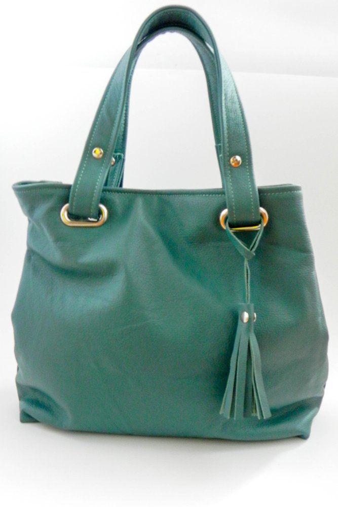 Green Leather Miss Maggie Handbag