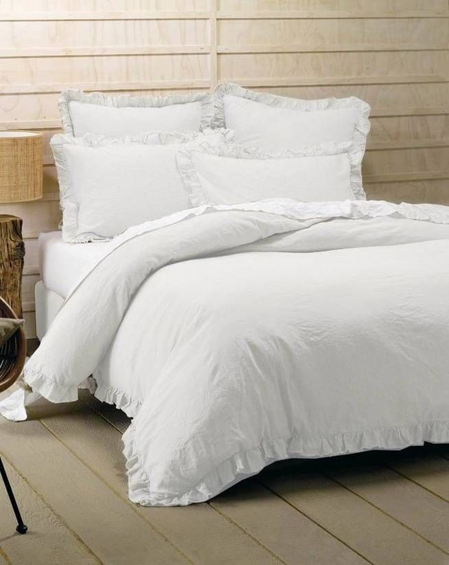 3 Pc White French Ruffle Queen Linen Doona Duvet Quilt
