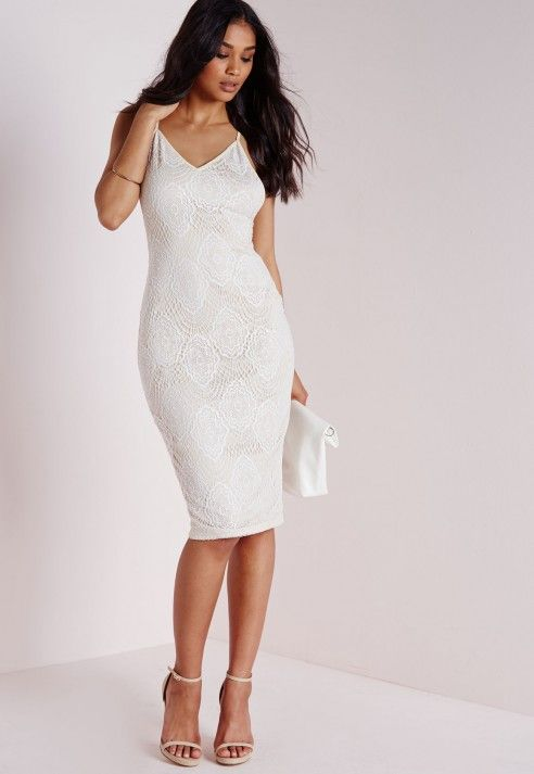 Crepe Lace Midi Dress White - Dresses - Midi Dresses - Missguided
