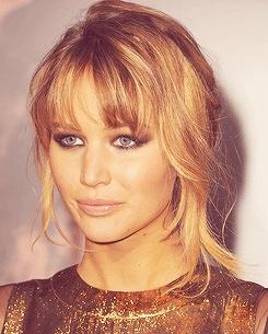 Jennifer Lawrence. Smokey eyes. Up do hairstyle. Fringe. Stunning