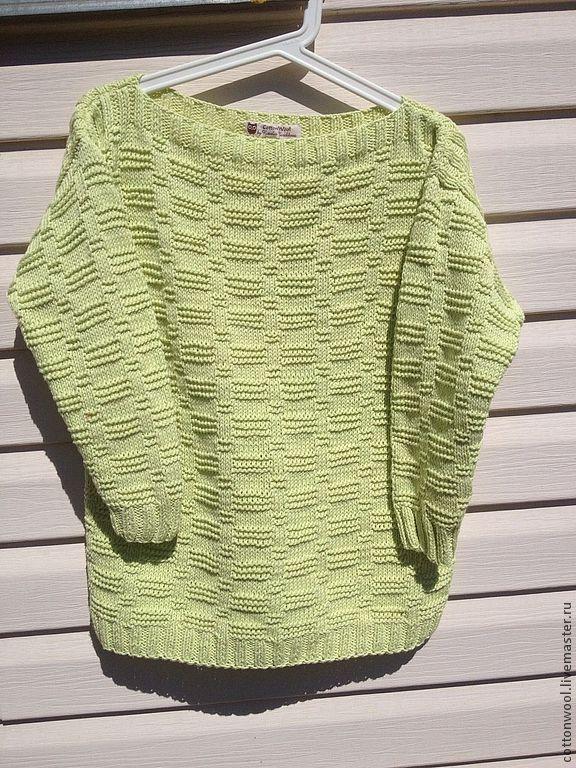Купить Летний свитер из органического хлопка нежно-лимонного цвета - салатовый, хлопок, органических хлопок
