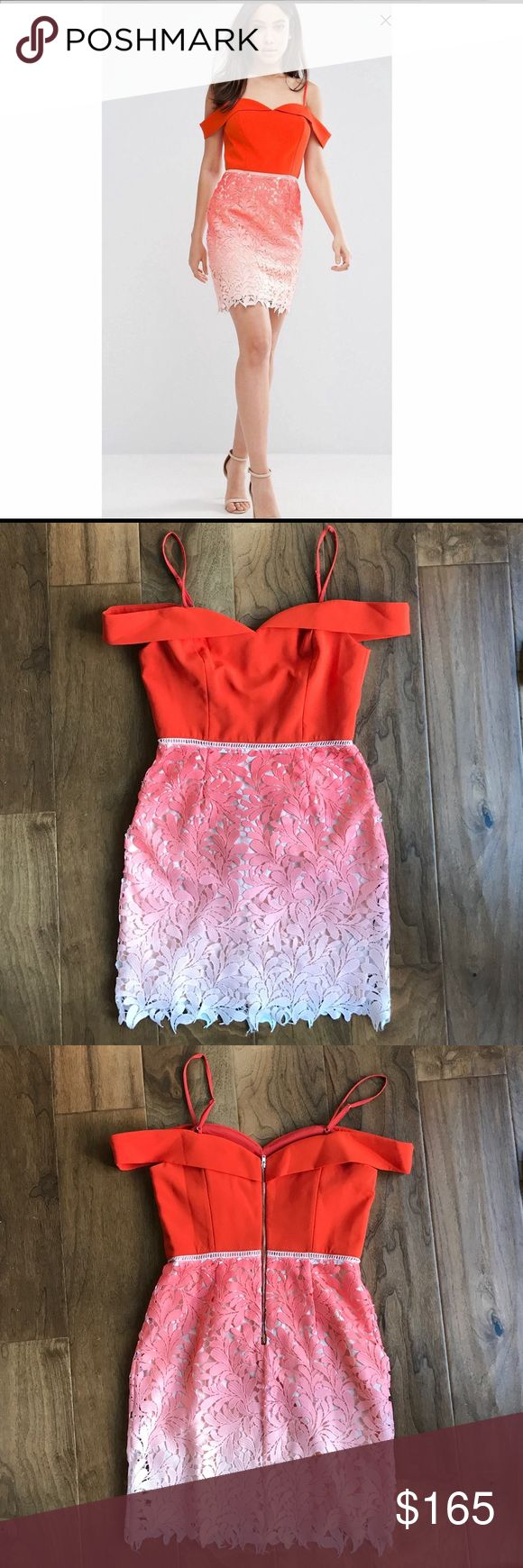 Adelyn Rae Orange ombré lace off shoulder dress Orange ombré lace off the shoulder dress. Never been worn, NWT! So cute off the shoulder dress with straps. I would say it fits S/M. I'm 135 and hour glass shape, I'm about the max size as a medium that could fit the dress. Also listing my nude Steve Madden straps heels that would match perfectly as shown in the stock photo! Adelyn Rae Dresses