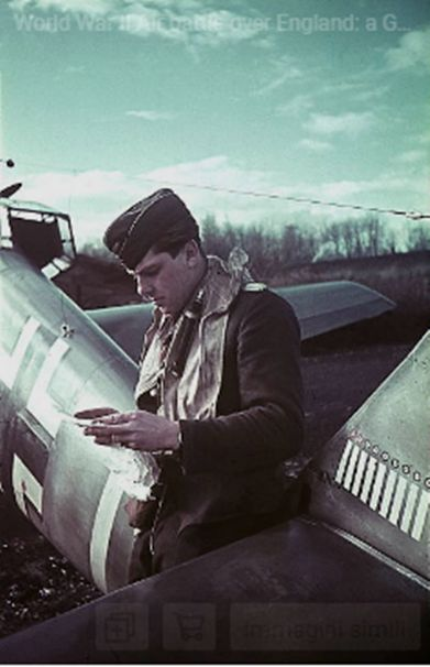 a German Messerschmitt Bf 109 pilot is noting how many British and French aircrafts he has shot down at a German air force base in Northern France - autumn 1940 (or spring 1941)