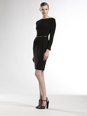 GUCCI Black Boatneck Dress w/Horsebit Leather Belt
