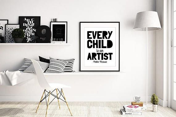 60% OFF our Regular Price. Every Child Is An Artist, Pablo Picasso Quote, Boys Room Decor, Printable Wall Art. If you want any change to be made just send us an e-mail before you purchase anything and we will create a custom order for you. PRINTABLE SIZES INCLUDED You will get digital high resolution .jpgs (300 dots per inch) in all of the following sizes: 1) 5 X 7 2) 8 X 10 3) A4 (8.3 X 11.7 / 21 X 29.7cm) 4) 11 X 14 5) 16 X 20 ------------------------------------------------------...