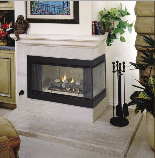 Corner two sided fireplace mantels roll over photo above for Double sided fireplace design