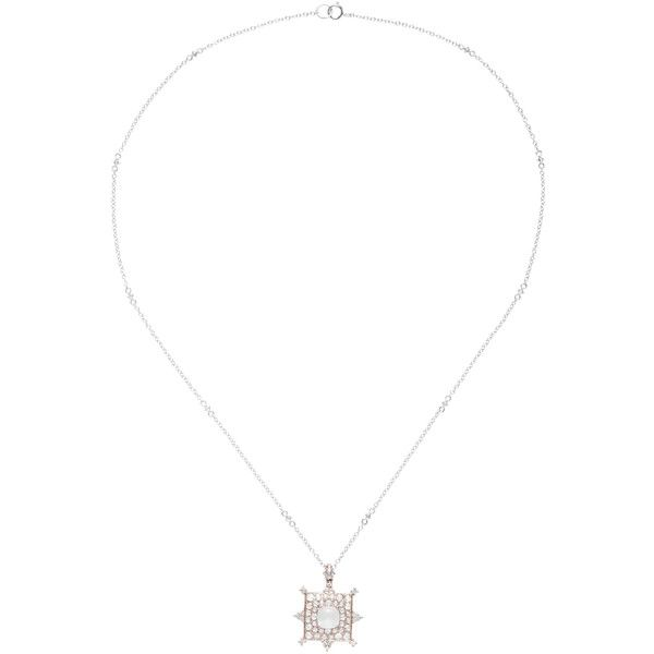 Nam Cho 18K White Gold, Diamond and Moonstone Necklace ($7,340) ❤ liked on Polyvore featuring jewelry, necklaces, white, moonstone pendant necklace, druzy pendant, diamond pendant necklace, white gold diamond necklace and white gold pendant