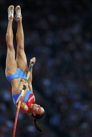 Russian pole vaulter Yelena Isinbayeva competes at the London Olympics.
