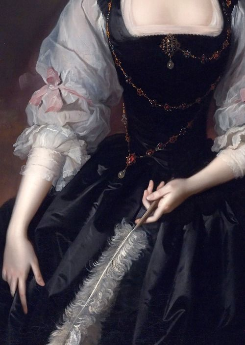 """""""Portrait of Lady Frances Courtenay, wife of William Courtenay, 1st Viscount Courtenay"""" (detail) by Thomas Hudson (1701-1779).   Delicious."""