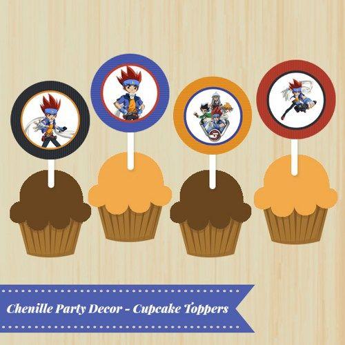 DIY, Printable, Beyblade, Cupcake Toppers, Party Bag Tags ...