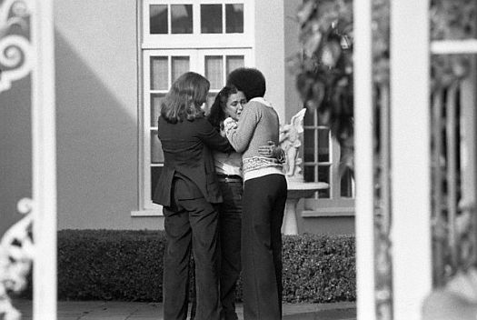 San Francisco -- Rebecca Moscone, 18, is consoled by friends at the Moscone home here, after learning that her father, San Francisco Mayor George Moscone, and Supervisor Harvey Milk had been shot and killed at City Hall (1978)