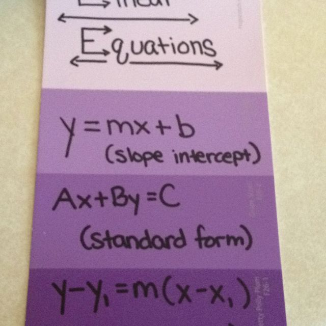 Different forms of linear equations on a paint chip.