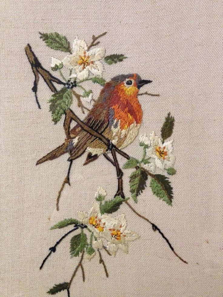 Vintage Needlework - Hand Embroidered Robin On A Branch