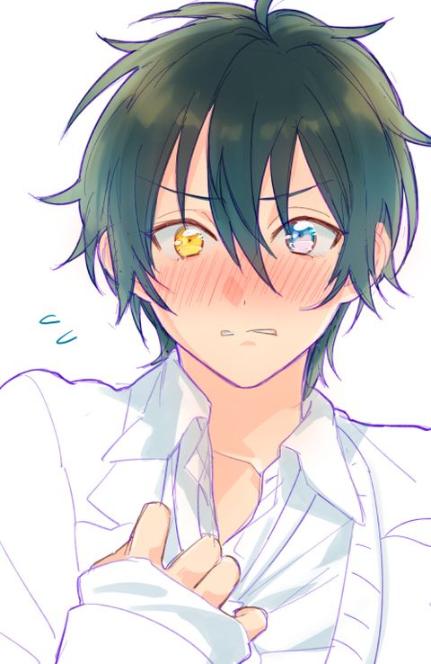 Anime boy, blushing, two different colored eyes, yellow eye, blue eye, black hair, white shirt