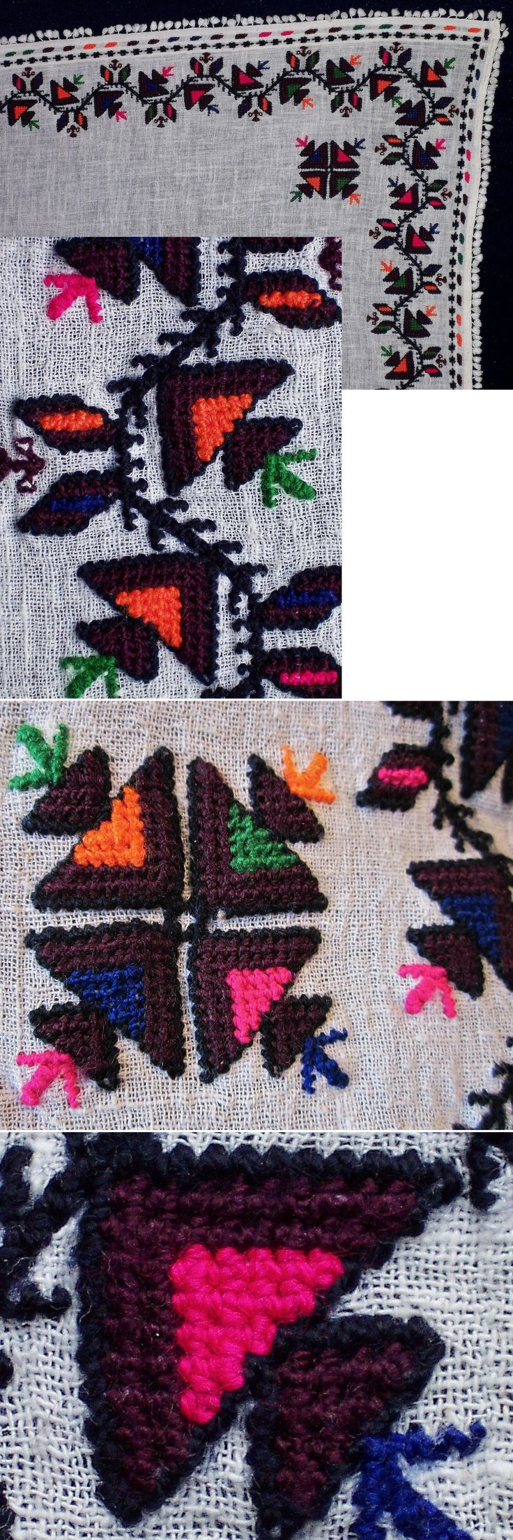 Close-ups of the 'two-sided' embroidery ((identical on both sides of the fabric) of a large traditional 'yemeni' or 'yazma' (woman's head scarf, also called 'örtme' or 'pô') from the district of Mengen (province of Bolu). Rural, cotton on cotton, 1960-1990. (Inv.nr. yaz002 - Kavak Costume Collection - Antwerpen/Belgium).
