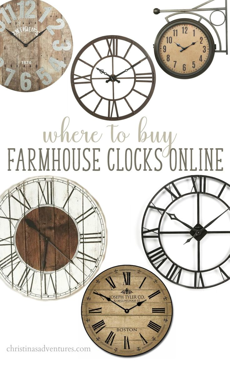 The BEST online sources to find large affordable farmhouse wall clocks - many budget friendly places to find oversized clocks! Wood, metal and more